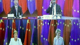 Les dirigeants européens Charles Michel, Ursula von der Leyen et Angela Merkel ont tenu ce lundi 14 septembre une visioconférence avec le président chinois Xi Jinping.