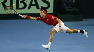 Japan's Kei Nishikori in action against Andy Murray on Sunday.