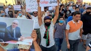 Manifestants en soutien au ministre de l'Intérieur Bashagha à Misrata, le 29 août 2020.