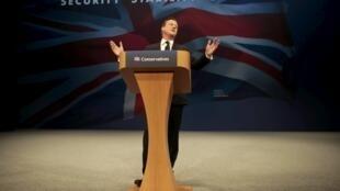 Premiê britânico David Cameron no discurso de encerramento do congresso do Partido., le 7 octobre 2015 à Manchester.