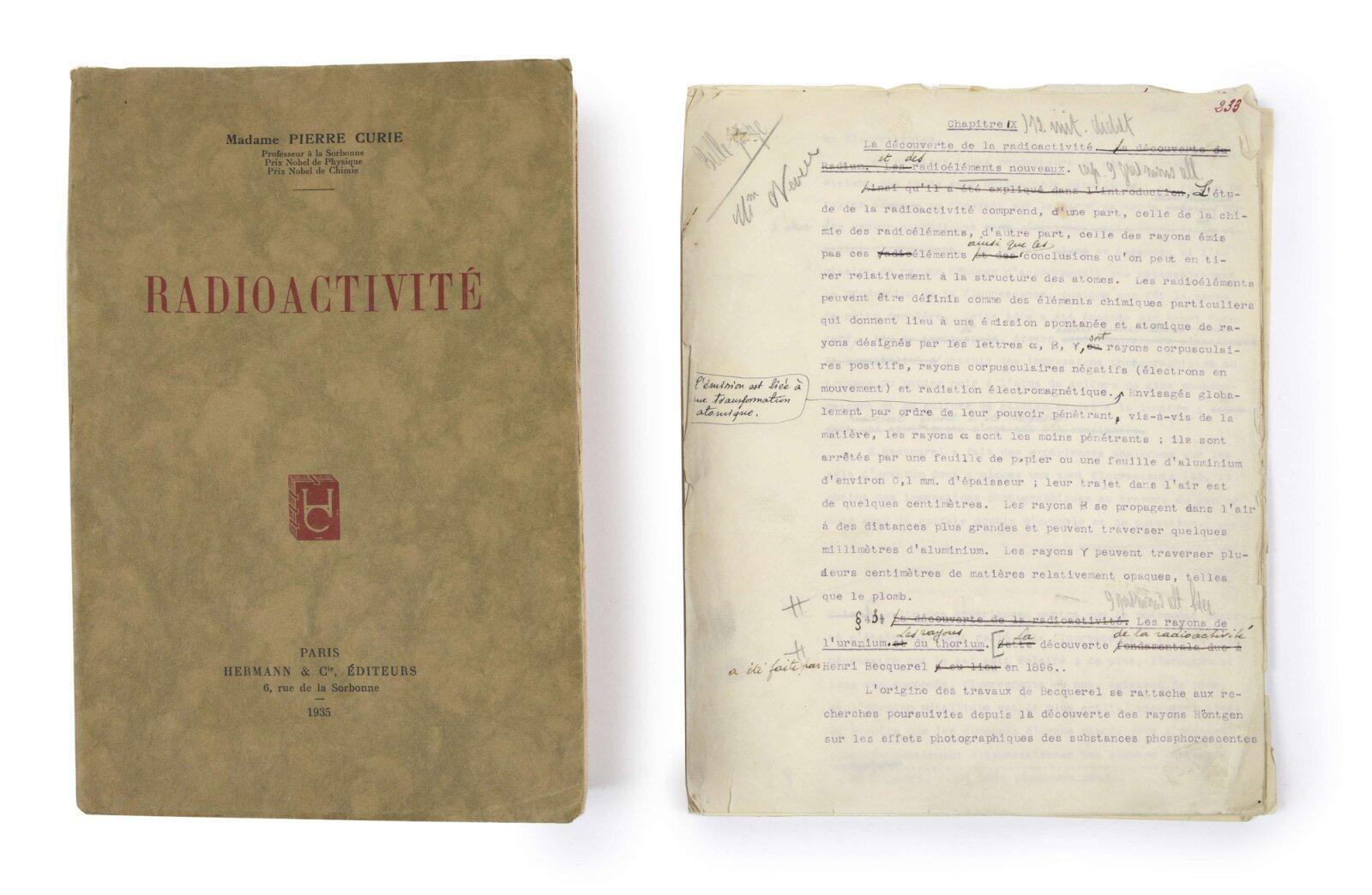 Tratado de radioactividad, texto meccanografiado con correcciones de Marie Curie.