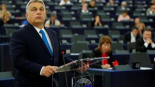 Le Premier ministre, Viktor Orban devant le Parlement européen à Strasbourg, le 11 septembre 2018.