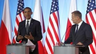 O presidente americano, Barack Obama, e o primeiro-ministro polonês, Donald Tusk, em Varsóvia, neste sábado 28 de maio.