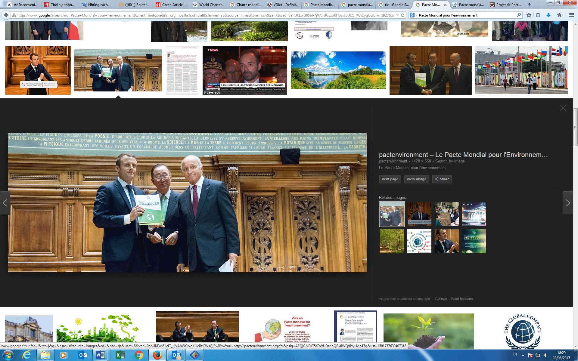 Buổi công bố chính thức dự thảo Công Ước Môi Trường Toàn Cầu tại Đại học Sorbonne, Paris, ngày 24/06/2017. Từ trái qua phải, tổng thống Pháp Emmanuel Macron, nguyên tổng thư ký LHQ Ban Ki-Moon, chủ tịch Hội Đồng Bảo Hiến Pháp Laurent Fabius.