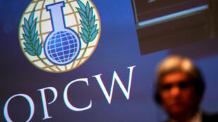 The logo of the Organisation for the Prohibition of Chemical Weapons (OPCW) is seen during a special session in the Hague, Netherlands June 26, 2018.