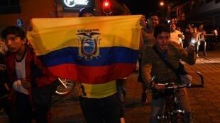 Habitantes de Ibarra, Ecuador, se manifiestan contra la inmigración venezolana, este 21 de enero de 2019.