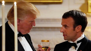 French President Emmanuel Macron toasts US President Donald Trump during Tuesday's State Dinner at the White House