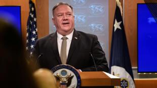 美国国务卿蓬佩奥9月2日出席记者会资料图片
