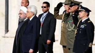 Shugaba  Rouhani tare da takwaransa  Sergio Mattarella na Italiya a birnin Roma