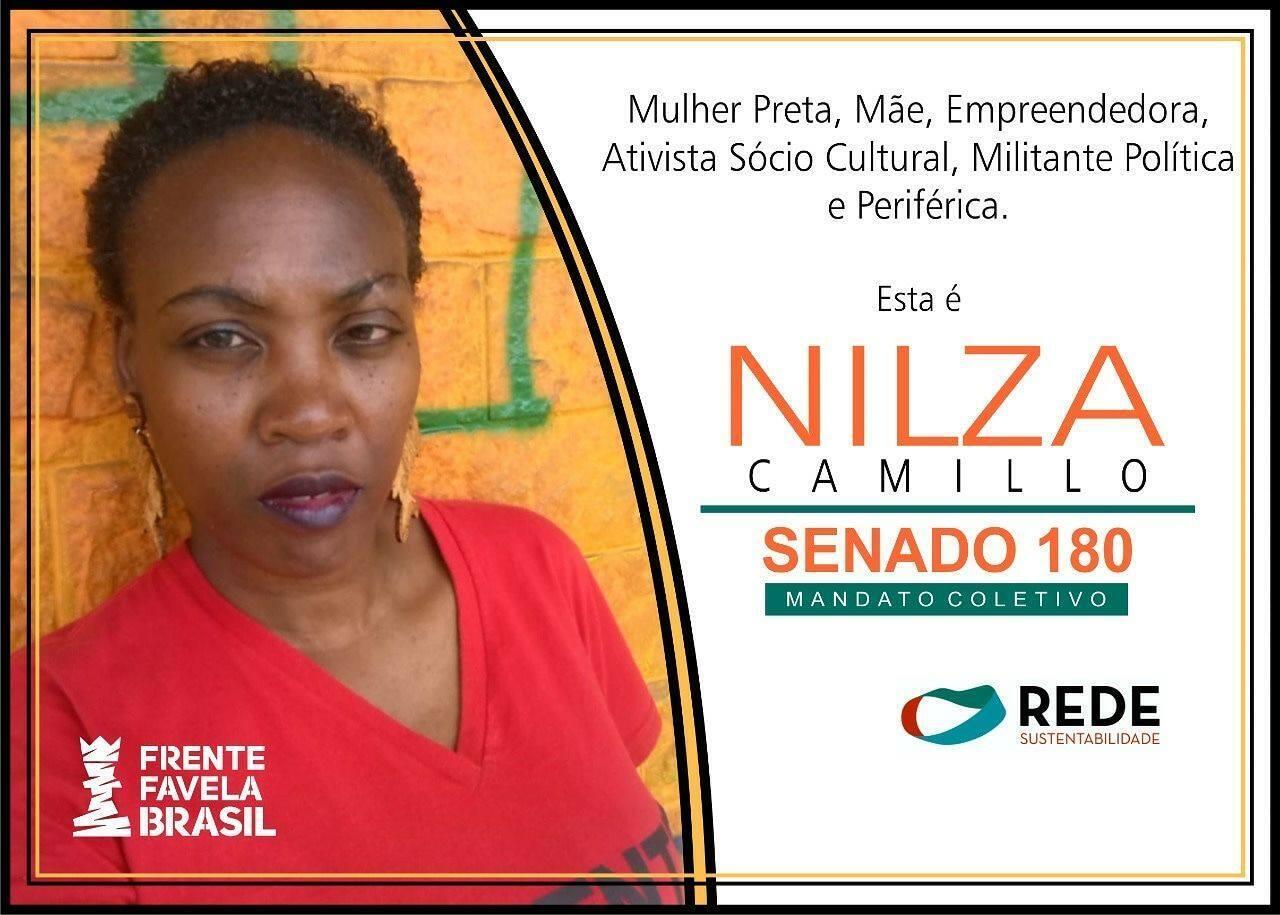 Nilza Camillo, do Frente Favela Brasil, é candidata a um mandato coletivo no Senado pela Rede em São Paulo
