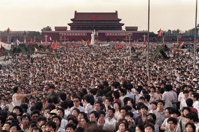 圖為六四事件前夕,1989年6月2日北京天安門廣場。