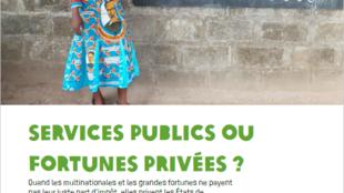 """Capa do relatório da Oxfam intitulado """"Serviços públicos ou fortunas privadas?"""""""
