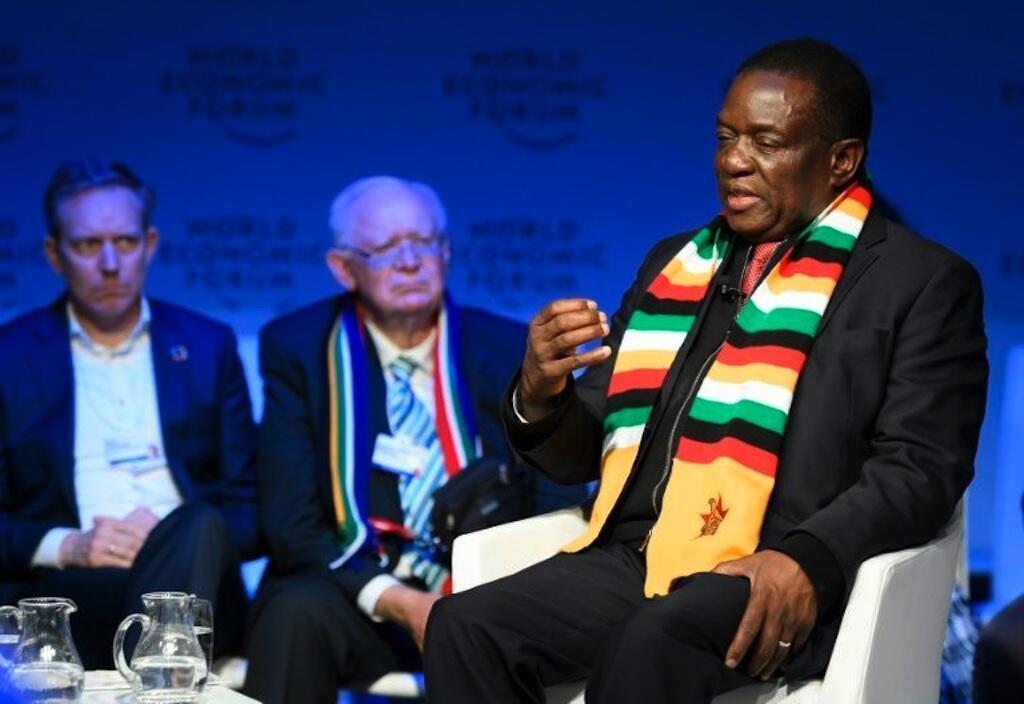 Rais wa Zimbabwe Emmerson Mnangagwa (kulia), Januari 24, 2018 Davos, Uswisi.