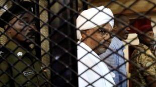 Ousted Sudanese president Omar al-Bashir in court in Khartoum, 31 August 2019.