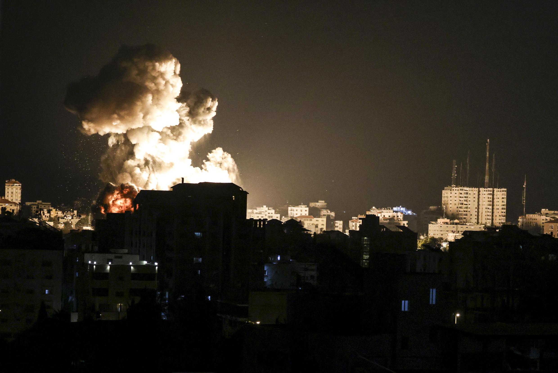 Bombardeos aéreos del ejército israelí en la Franja de Gaza, el 13 de mayo de 2021
