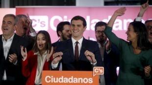 Líder do partido Ciudadanos celebra resultado das eleições em Madri em 20 de dezembro de 2015.