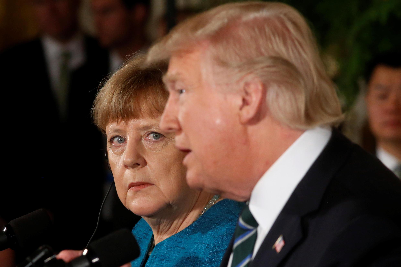 លោកស្រី Angela Merkel និងលោក Donald Trump ក្នុងសន្និសីទកាសែតរួមថ្ងៃទី ១៧ មីនា ២០១៧