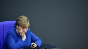 "German Chancellor Angela Merkel sees ""very tough"" talks over the longterm budget"