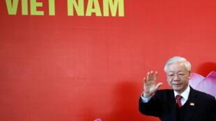 Ông Nguyễn Phú Trọng tại Đại hội 13 của đảng Cộng Sản Việt Nam, Hà Nội, ngày 01/02/2021.