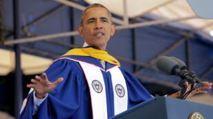 Barack Obama délivre son message devant les étudiants de l'université d'Howard, à Washington, le 7 mai 2016.