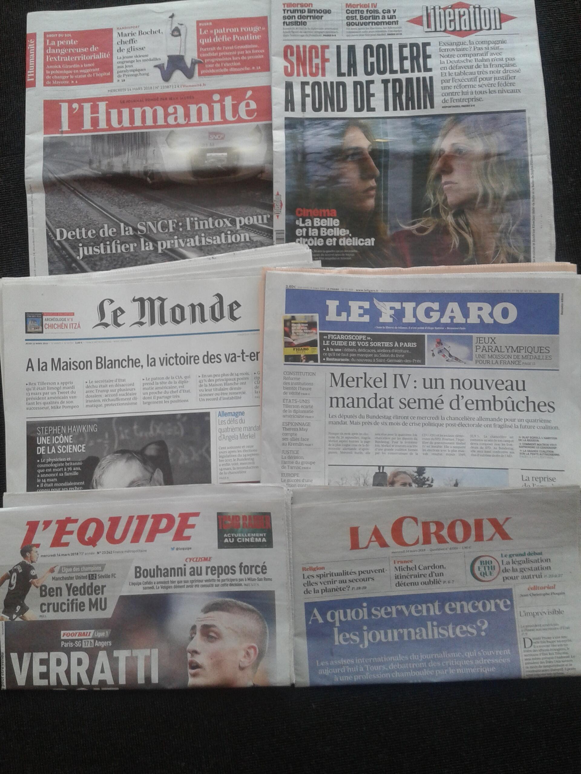 Imprensa francesa do dia 14.3.2018