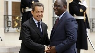 Nicolas Sarkozy with Macky Sall at the Elysée on Wednesday