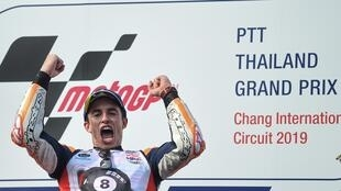 Marc Marquez won the 2019 Thailand MotoGP on his way to the season's title.