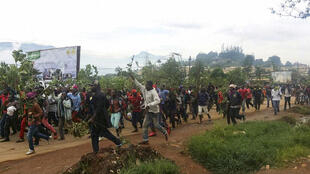 Demonstrators march during a protest against perceived discrimination in favour of the country's francophone majority, 22 September 2017 in Bamenda.