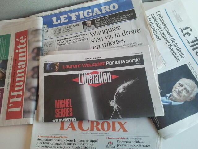 Primeiras páginas dos jornais franceses de 03 de junho de 2019
