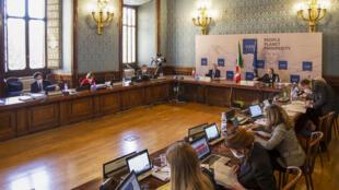 Durant la réunion par vidéoconférence des ministres des Finances et des gouverneurs des Banques centrales du G20 à Rome, le 7 avril 2021.