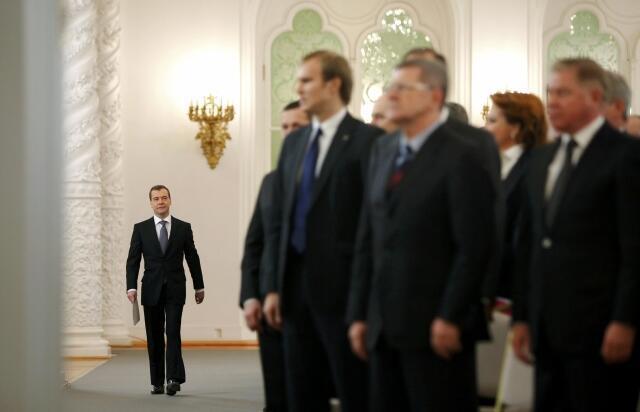 Moscou, Kremlin, 22 décembre 2011. Dmitri Medvedev sur le point de prononcer son discours annuel sur l'état de la nation.