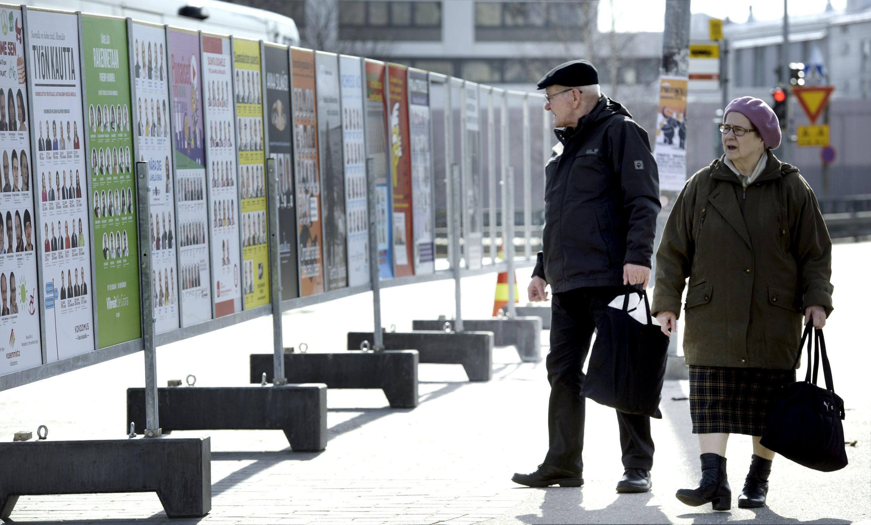 Phần Lan trước bầu cử Quốc hội ngày 19/04. Trong ảnh, các quảng cáo tranh cử trên một đường phố ở Helsinki, ngày 10/04/2015.