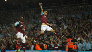Winston Reid celebrates after scoring West Ham's winner against Manchester United on Tuesday.