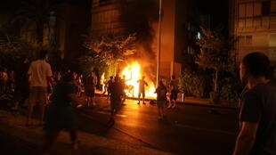 A man set himself on fire at a social justice protest in Tel Aviv, 14 July, 2012