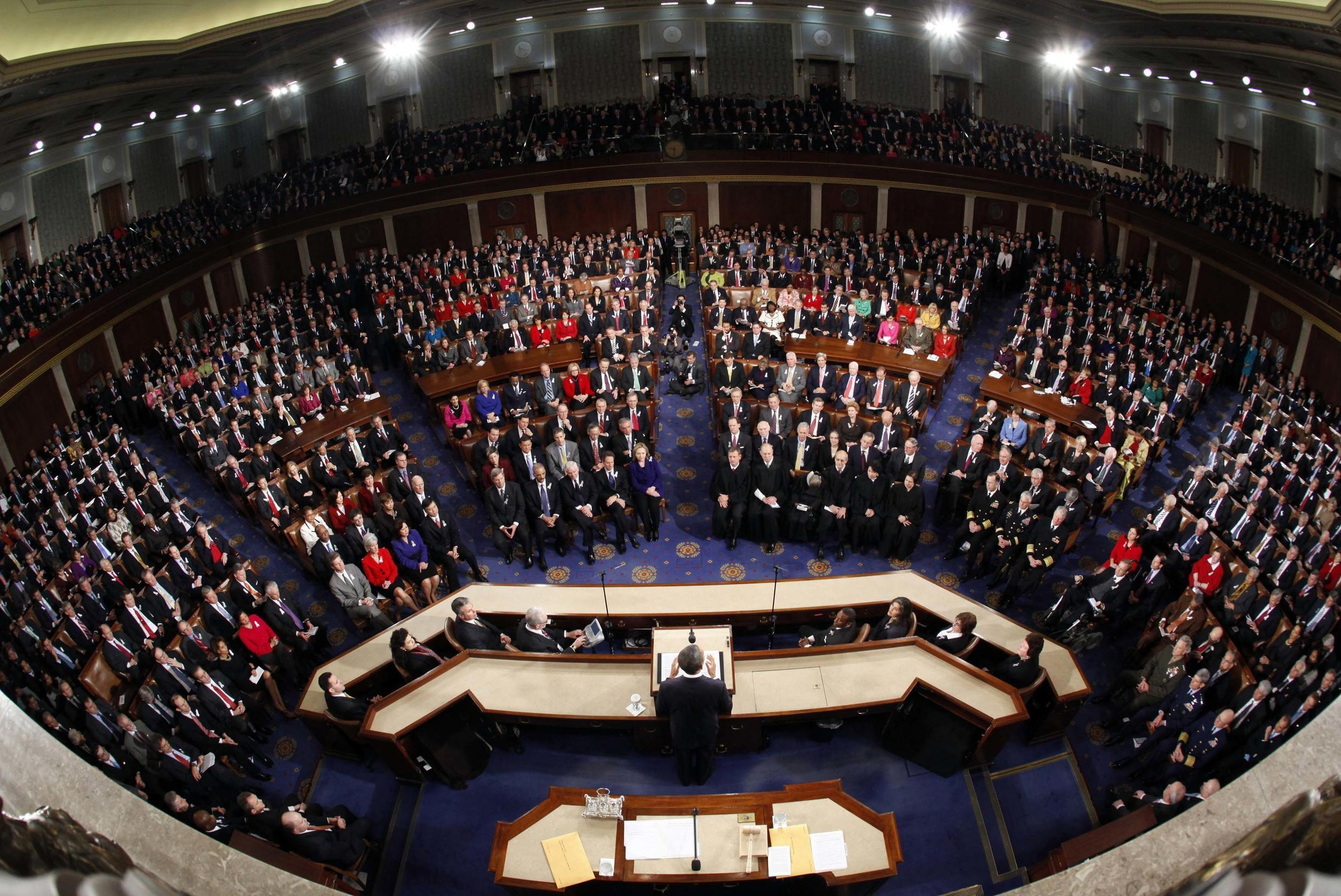 Barack Obama gives his 2011 State of the Union address.