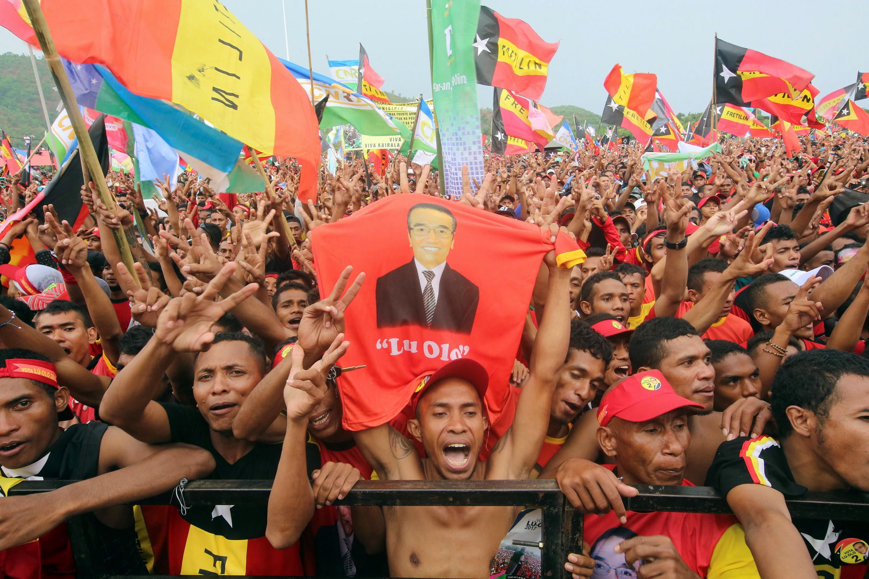 Ủng hộ viên của tân tổng thống Đông Timor Francisco Guterres - bí danh Lu-Olo - tại cuộc mít tinh tranh cử ngày 17/03/2017 ở Dili (Đông Timor).