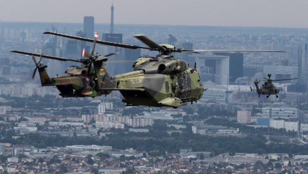 Several European military aircraft and vehicles were showcased at the Bastille Day parade, including the German NH90.