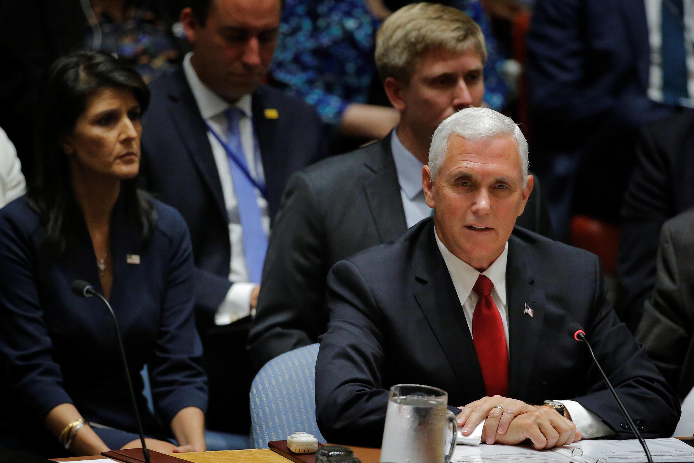 Phó tổng thống Mike Pence tại cuộc họp của Hội Đồng Bảo An ngày 20/09/2017.