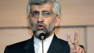 Saeed Jalili during a news conference in Istanbul