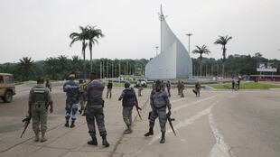 Gendarmes on patrol at Democracy Square in Libreville on 7 January following the coup attempt.