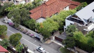 图为新加坡前总理李光耀在欧思礼路38号遗居鸟瞰