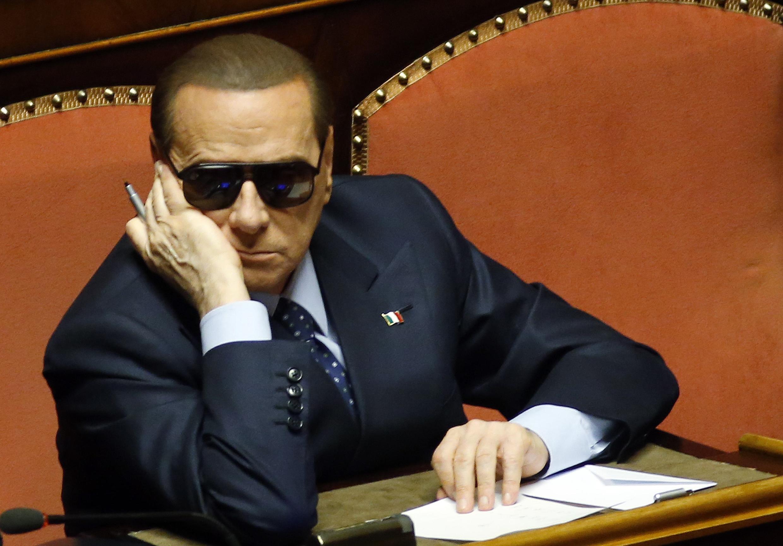 Silvio Berlusconi en sede parlamentaria, Italia.
