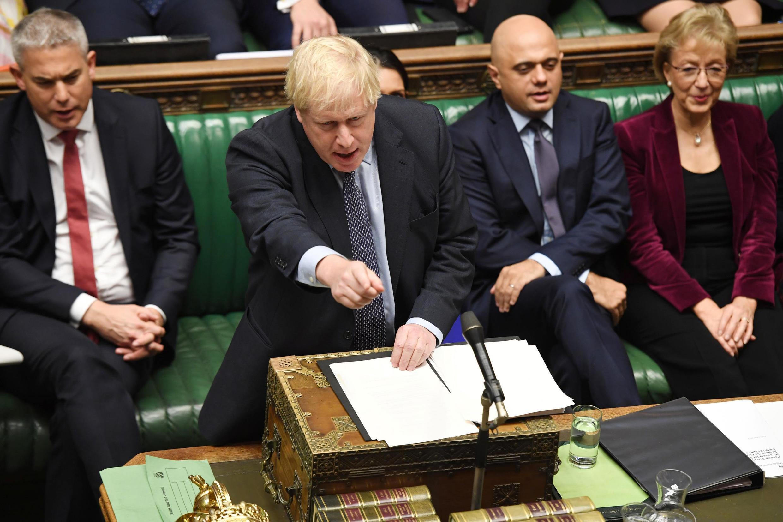 Boris Johnson s'exprimant au Parlement, le 19 octobre 2019.