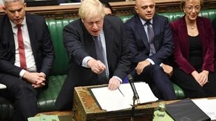 El primer ministro Boris Johnson en el Parlamento, 19 de octubre de 2019.