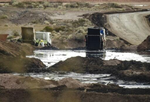 This handout photo distributed by Greenpeace on December 17, 2018 shows an illegal waste dump, where toxic fracking waste chemicals are poured in Vaca Muerta, Neuquen province, Argentina