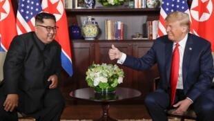 美国前总统特朗普与朝鲜领导人金正恩资料图片