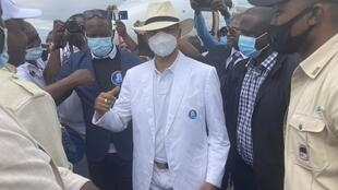 Moïse Katumbi à son arrivée à l'aéroport de Kinshasa, vendredi 6 novembre 2020.