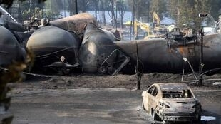 Một góc quang cảnh vụ nổ toa xe chở dầu ở Lac Megantic, Quebec, Canada, 07/07/2013