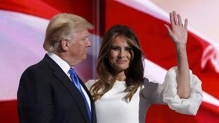 Donald e Melania Trump na Convenção Republicana. Cleveland. 18 de Julho de 2016