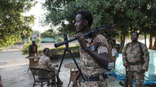 Membres des forces spéciales d'Amhara, qui soutiennent l'armée fédérale éthiopienne, à Humera, Tigré, le 22 novembre 2020.